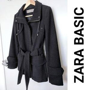 EUC Zara warm black fall/winter coat (size XS)